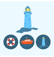 Set icons with boat lifebuoy lighthouse vector image
