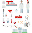 set medicine and chemical engineering flat vector image