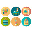 Set of flat summer icons with half shadow vector image