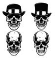set of skulls in vintage hats skull with vector image vector image