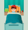 sick kid resting vector image
