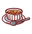 sweet creme brulee in small container on plate vector image vector image