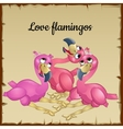 three cute pink flamingos vector image