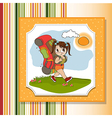 Traveling tourist girl with backpack vector image vector image
