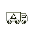 truck recycle environment ecology line and fill vector image vector image