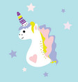 unicorn icon isolated on white head vector image vector image