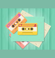 vintage audio cassette music of the 80s and 90s vector image