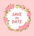 wedding invitation with floral wreath vector image