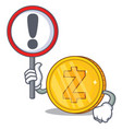 with sign zcash coin character cartoon vector image