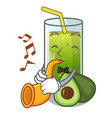 with trumpet avocado smoothies are isolated on vector image vector image