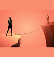 woman and man separated a ravine vector image vector image