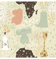 Cute cartoon seamless pattern with wild animals vector image
