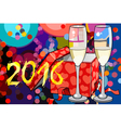 2016 Christmas card with two glasses of champagne vector image