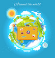 around the world color card vector image