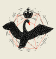 background with flying black swan hand drawn bird vector image vector image