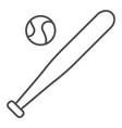 baseball bat and ball thin line icon sport vector image