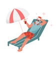 bearded man in red santa hat sitting on sunbed and vector image