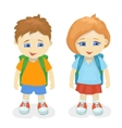 Boy and girl with backpacks School kids vector image