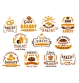 Bread pastry and bakery shop icons or symbols vector image vector image
