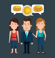 businesspeople group with bitcoins vector image vector image