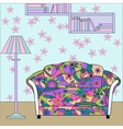 Cartoon funny interior with couch painted colorful vector image vector image