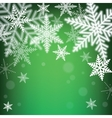 Christmas snowflakes on green background vector image