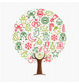 christmas tree made of xmas outline icon ornaments vector image