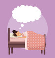 colorful scene girl sleep with blanket in bedroom vector image vector image
