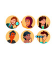 curious happy multicultural character set vector image