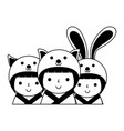 cute kokeshi dolls vector image