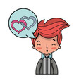 cute man with hairstyle and chat bubble vector image vector image
