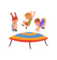 cute smiling boys and girl jumping on trampoline vector image vector image