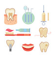 dental icons set eps10 vector image