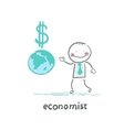 economist is close to the planet and the dollar vector image vector image