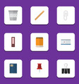 flat icon equipment set of notepaper dossier vector image vector image