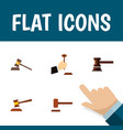 flat icon lawyer set of law defense hammer and vector image vector image