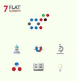 flat icon science set of attractive force vector image