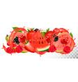 fruit in juice splash background strawberry vector image vector image