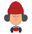 girl with winter hat on white background vector image vector image