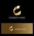 gold shape letter c company logo vector image