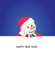 happy new year with snowman cartoon vector image