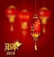 happy oriental card for chinese new year 2019 vector image