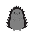 hedgehog urchin contour silhouette cute cartoon vector image