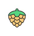 hop cone flat color line icon vector image