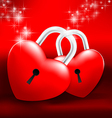 Locked Heart on red background vector image vector image