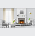 luxury living room background with fireplace vector image