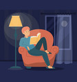 man reading book in dark male character vector image vector image