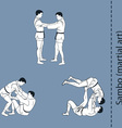men demonstrate the fight of SAMBO self defence vector image vector image