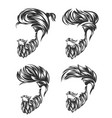 mens hairstyle set and hirecut with beard mustache vector image vector image