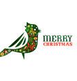 merry christmas retro watercolor folk bird banner vector image vector image